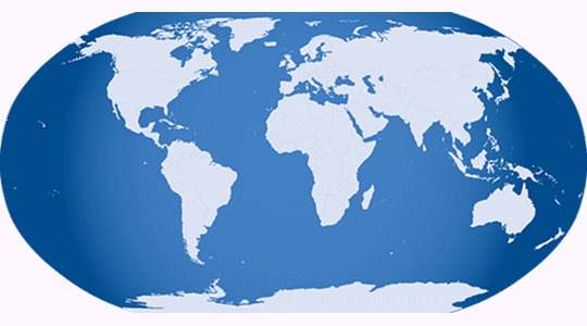 The globe represented as one single image in blue