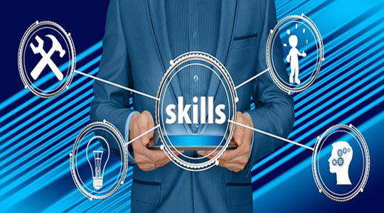 the word skills with images coming off it