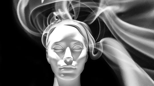 swirling smoke around a synthetic woman's head