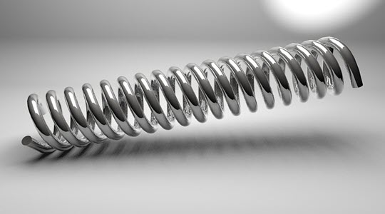 close up of a steel spring