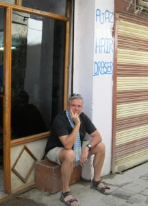 """Waiting for my turn outside of the """"Hair Drasser"""" shop in Leh."""