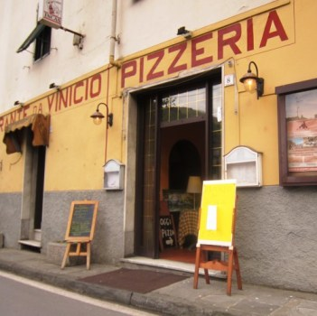 "The inviting exterior of Ristorante da Vinici, known locally as ""The Two Fat Guys'"" restaurant."