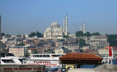 The view of old Istanbul from Karakoy, across the Bosphorus.