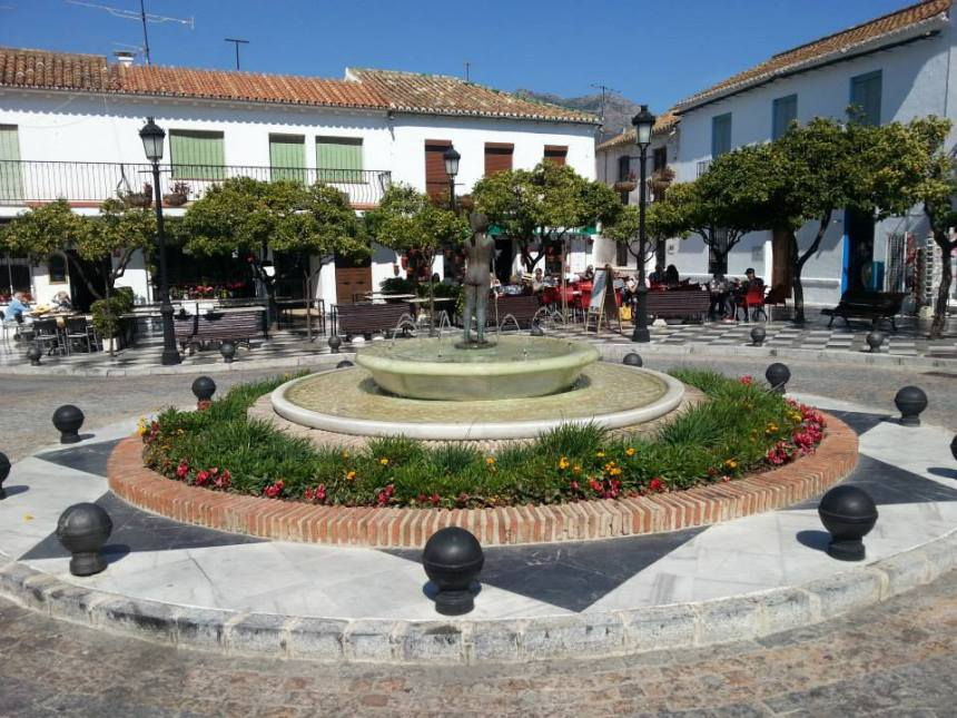 Typical plaza in an Andalusian village, this one in Mijas.