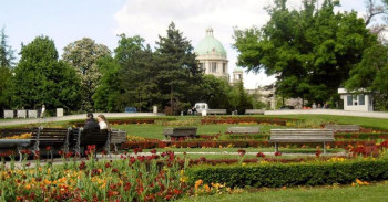 Public gardens looking to Parliament in the center of Belgrade