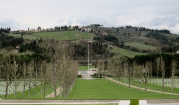 A US flag flies over Italian soil at the Florence American Cemetery just outside of Florence, Italy.