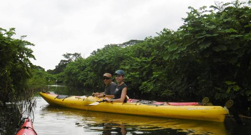 Resting among the dense brush along the Rio Istian during our paddle through the estuary of Lake Nicaragua