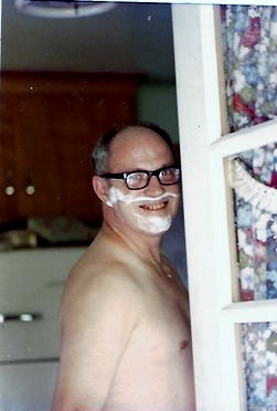 Pre-wedding day shave, as Dad gets ready for my sister Jane's nuptials at the family home in Greenfield, Mass.