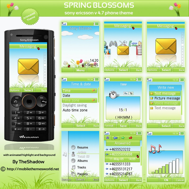 spring season animated theme for mobile by theshadow