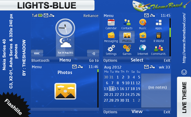 theshadow themes Lights Blue theme for Nokia C3, X2-01 & Asha 200, 201, 302 phones