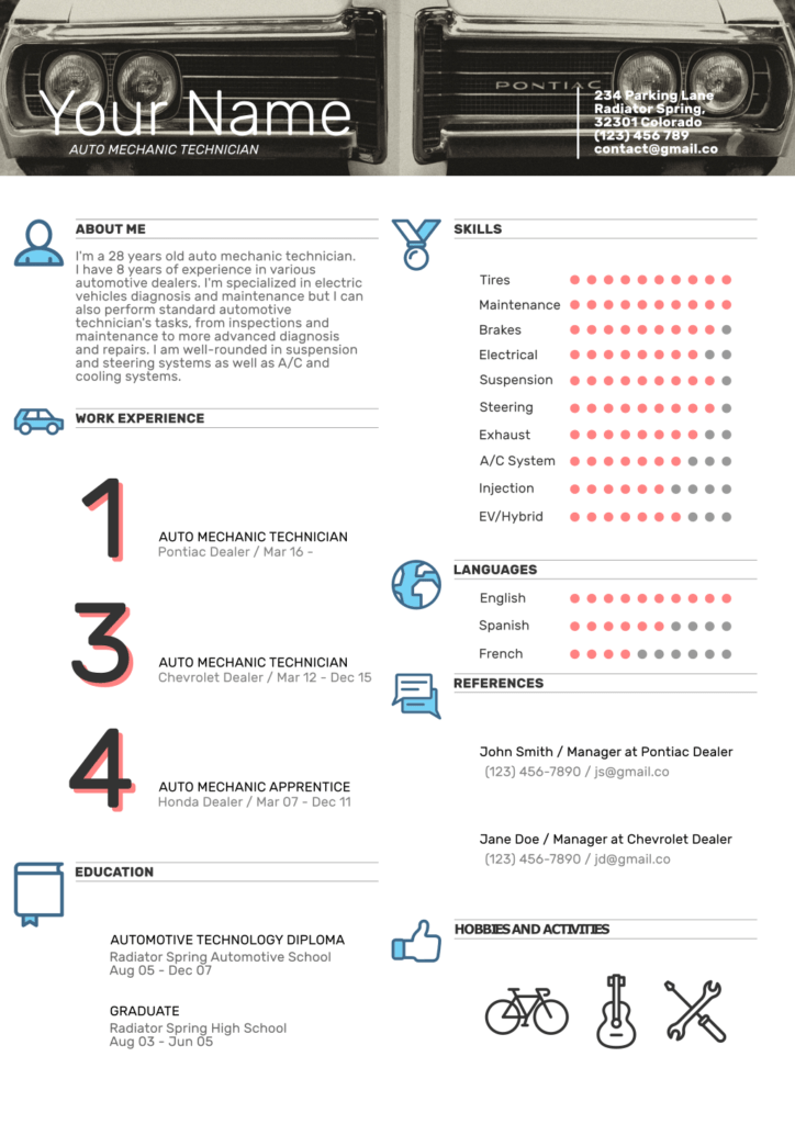 Auto Mechanic Resume Template 1