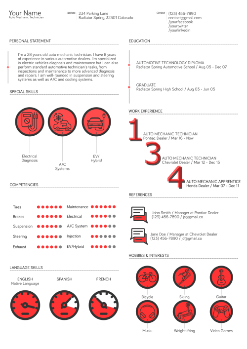 auto mechanic resume template 3 - Mechanic Resume Template