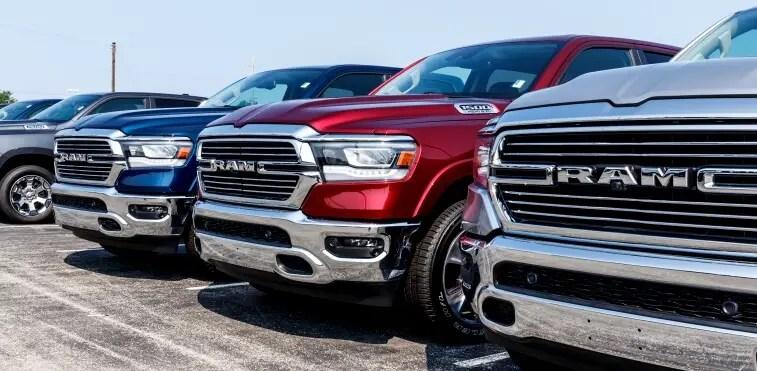 Multiple Dodge Ram pick-up truck aligned