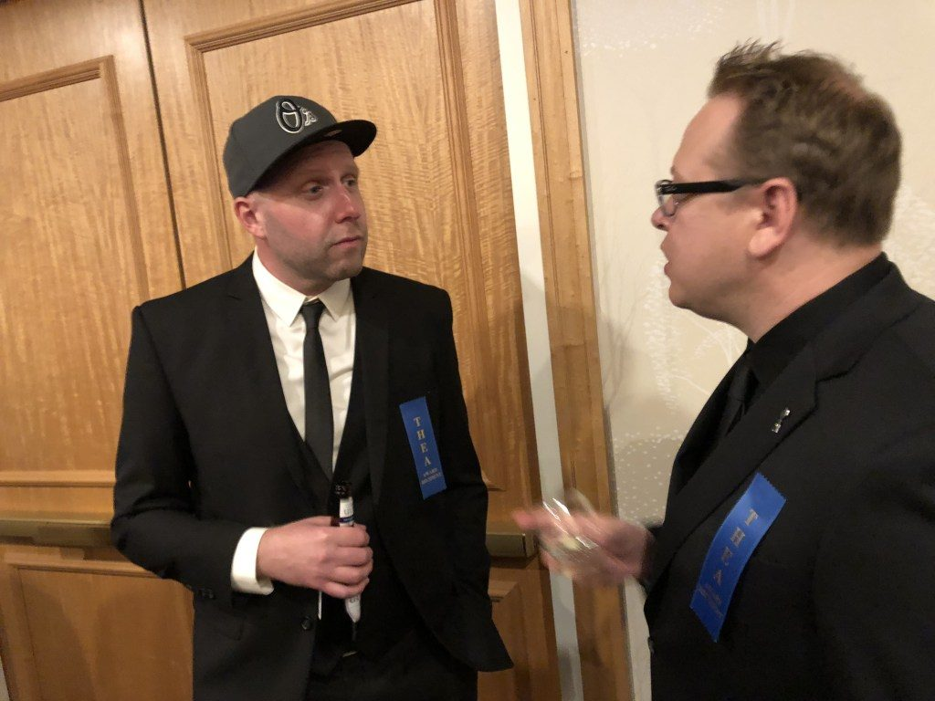 Nathan Huber of 3D Live and Christian Lachel of BRC Imagination Arts at the Themed Entertainment Association's annual Thea Awards, 2018