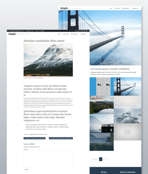 Adagio Photographer's WordPress Theme