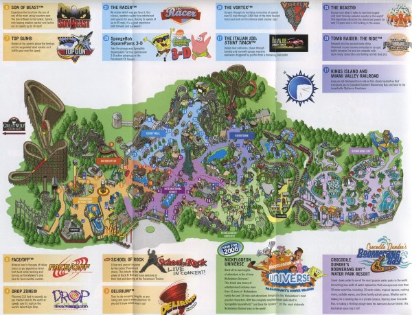 Theme Park Brochures Paramount s Kings Island   Theme Park Brochures Download Map  Location  Cincinnati  Ohio Date  2006