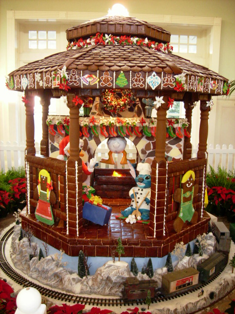 Christmas at Disney's BoardWalk Inn ginger bread house with stitch on fireplace