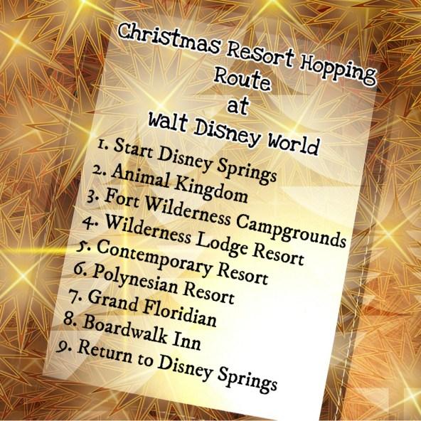 Christmas Resort Hopping Route at Walt Disney World list in gold