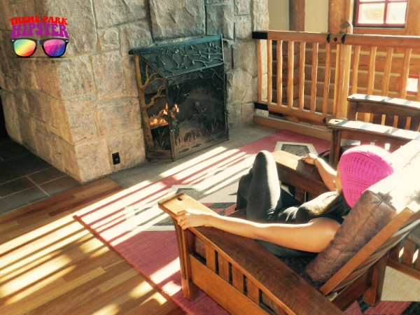 Relaxing by the fireplace at Disney's Wilderness Lodge