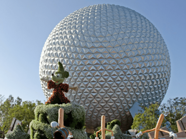 Mickey Mouse in front of Spaceship Earth Globe at Epcot