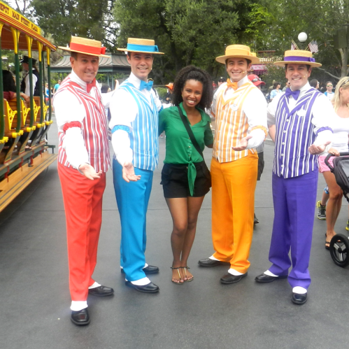 Disneyland Solo with colorful Dapper Dans