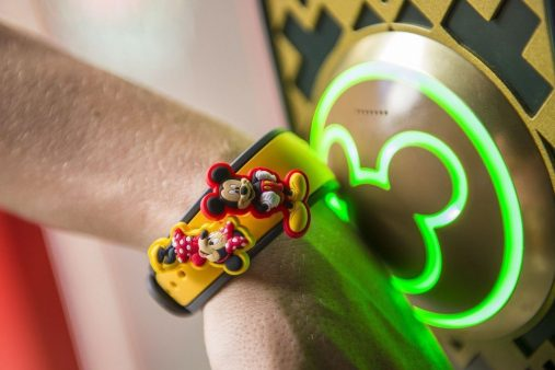 A MagicBand decorated with MagicBandits.