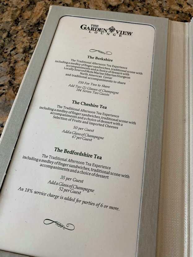 Afternoon Tea Menu at the Garden View Tea Lounge