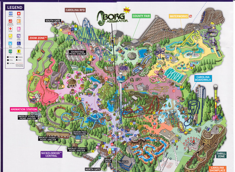 Carowinds   2004 Park Map Photo By  larrygator  2004 Park Map