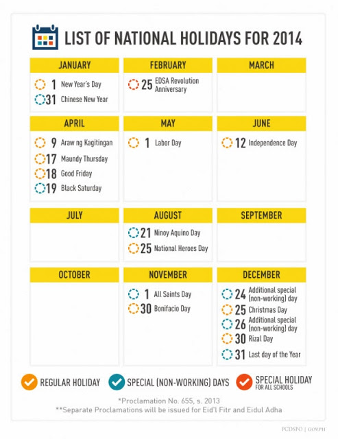 2014 Philippine Official Holidays