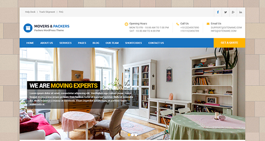 free moving company WordPress theme