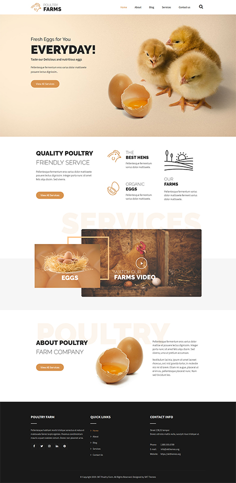 Free chicken farm WordPress theme