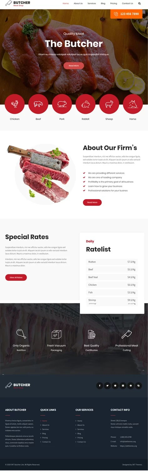 free Butcher shop WordPress theme