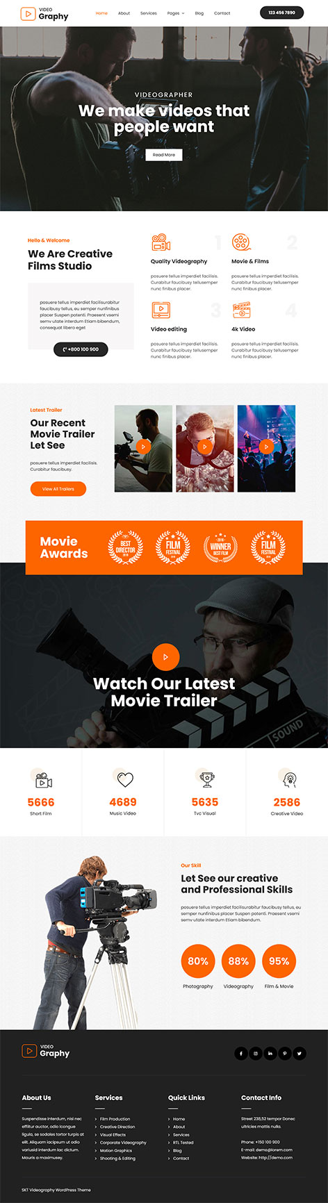free video production WordPress theme