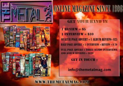 The Metal Mag advert with prices for labels and prs to get their bands in the magazine.