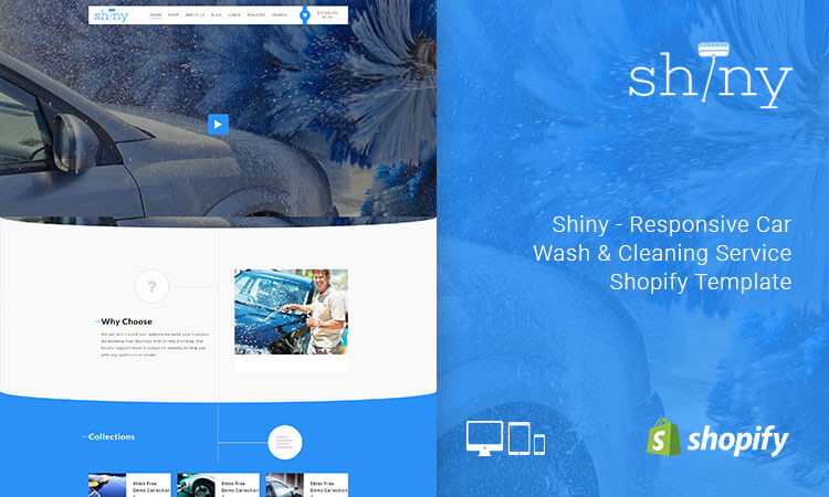 Shiny - Responsive Car Wash & Cleaning Service Shopify Template | ThemeTidy