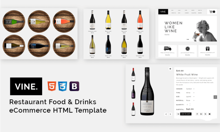 Vine – Restaurant Food & Drinks eCommerce HTML Template