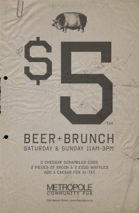 October 2013 - $5 beer and brunch
