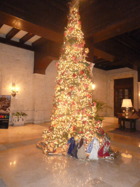 Christmas tree in a Mexico hotel