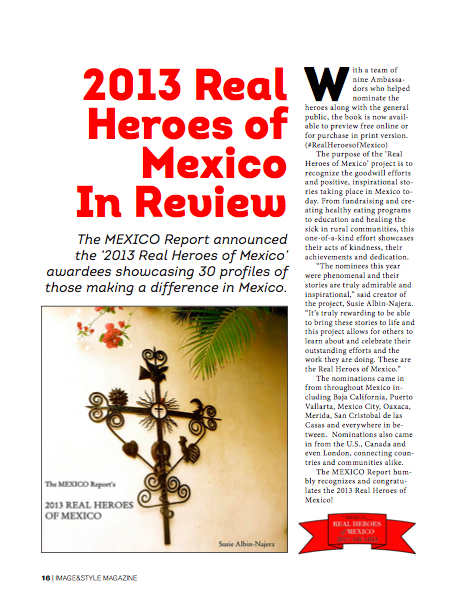 The Mexico Report's Real Heroes of Mexico featured in Image & Style (Nov 2013 issue)