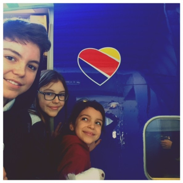 Najera kids on Southwest Airlines LAX-CUN