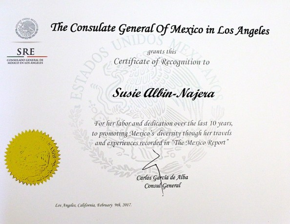 Mexican Consulate LA Awards The Mexico Report with Certificate of Recognition
