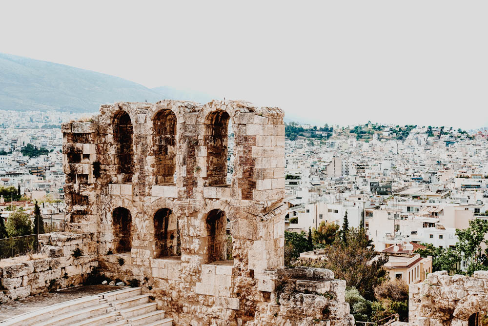 Amazing view of the beautiful city of Athens