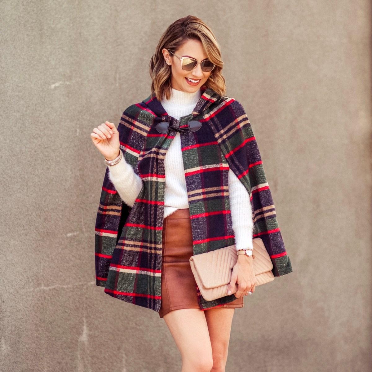 Plaid cape coat red dress boutique