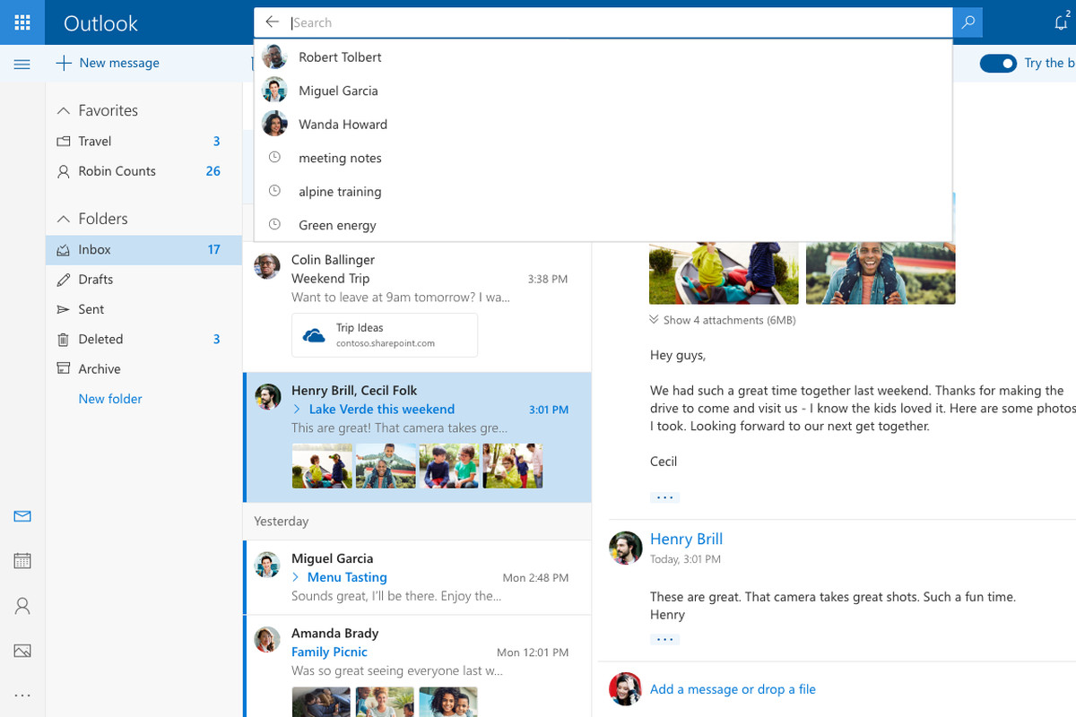 New Design of Outlook.com