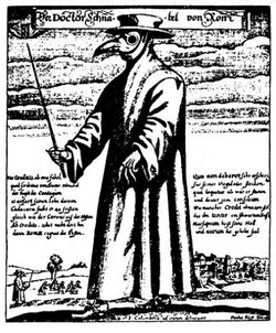 A plague doctor, 14th century