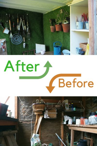 Before and after - interior shed makeover with lots of shed storage ideas