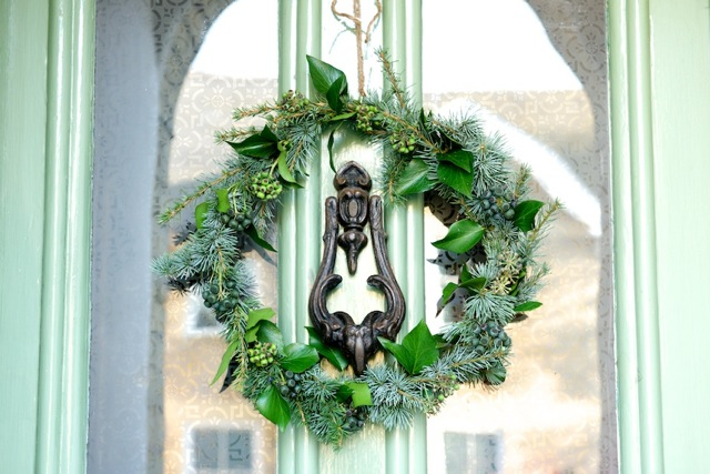 Wreath with coat hanger and garden clippings