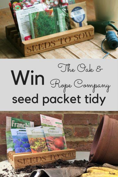 Win a handmade Oak & Rope Seed Packet Tidy