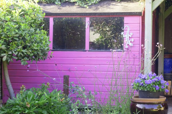 Paint your shed to echo your garden theme