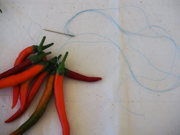 Threading chillies
